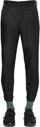 Prada 18cm Garbardine Nylon Pants W/Logo Strap