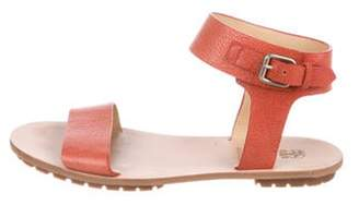 Brunello Cucinelli Leather Peep-Toe Sandals Coral Leather Peep-Toe Sandals