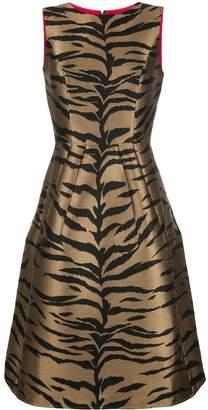Carolina Herrera Sleeveless Tiger Jacquard A-Line Midi