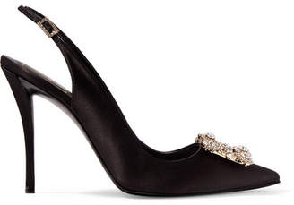 Roger Vivier Flower Crystal-embellished Satin Slingback Pumps - Black