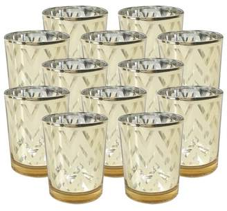 """Just Artifacts Mercury Glass Votive Candle Holder 2.75""""H (Set of 12, 2.75""""H, Chevron Gold) -Mercury Glass Votive Tealight Candle Holders for Weddings, Parties and Home Decor"""