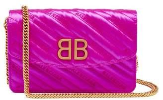 b647be76b453f Balenciaga Bb Logo Embroidered Satin Clutch Bag - Womens - Pink