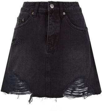 Ksubi Mini Moss Distressed Denim Skirt