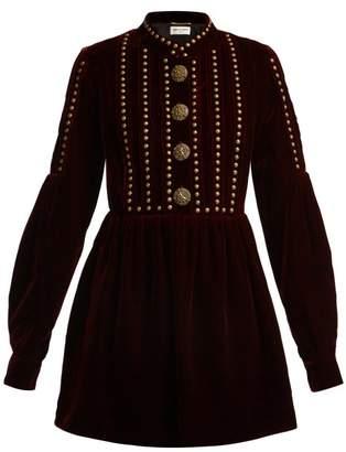 Saint Laurent Studded And Pleated Velvet Mini Dress - Womens - Burgundy