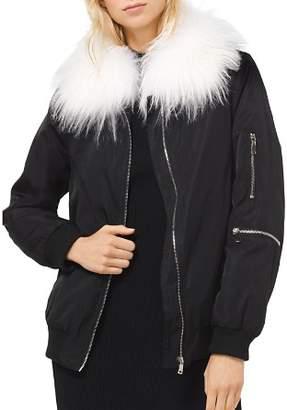 MICHAEL Michael Kors MICHAEL Goat Hair Collar Bomber Jacket