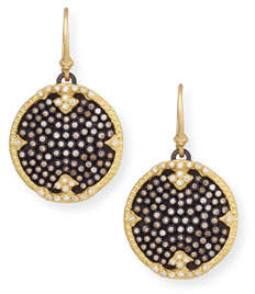 Armenta Old World Midnight Pavé Diamond Disc Earrings
