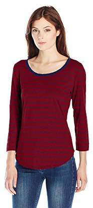 Lee Indigo Women's 3/4 Sleeve Stripe Knit Shirt With Lace Trim Neck