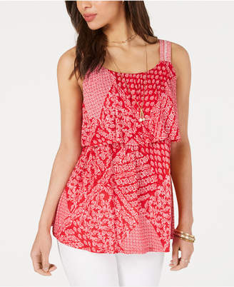 Style&Co. Style & Co Printed Flounce Tank Top