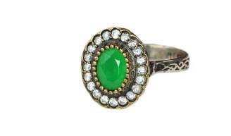 Sultana Sultanesque Silver Emerald Green Oval Ring