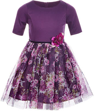 Pink & Violet Toddler Girls Knit Floral Mesh Dress