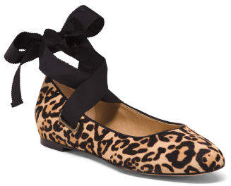 Leopard Print Haircalf Ballet Flats