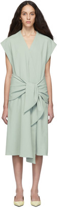 Tibi Green Chalky Drape Midi Wrap Dress