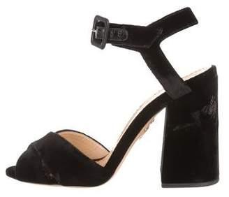 Charlotte Olympia Velvet Ankle Strap Sandals