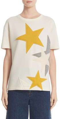 Women's Stella Mccartney Star Applique Jersey Tee $575 thestylecure.com