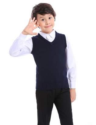 TopTie Boys V-Neck Cotton Knit Sleeveless Pullover School Uniform Sweater Vest (/Black)