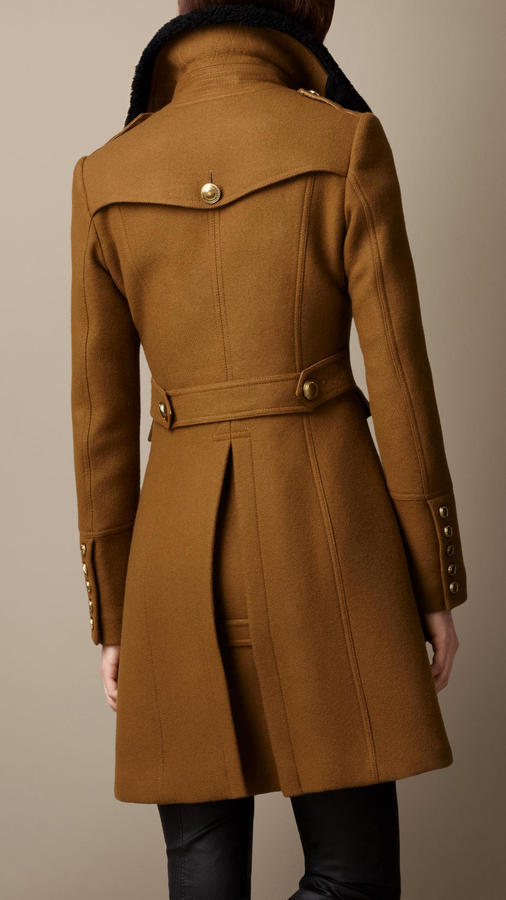 Burberry Shearling Collar Military Coat