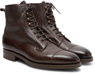 Edward Green Galway Cap-Toe Textured-Leather Boots