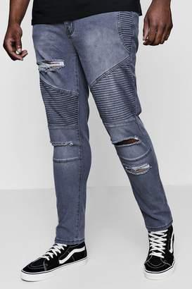 boohoo Big And Tall Skinny Fit Ripped Biker Jeans