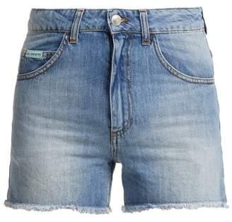 ALEXACHUNG High Rise Denim Shorts - Womens - Denim