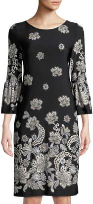 Neiman Marcus Floral-Print Bell-Sleeve Jersey Dress