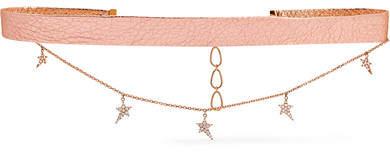 Diane Kordas Metallic Textured-leather, 18-karat Rose Gold And Diamond Choker
