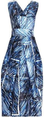 Milly Strapless Printed Crepe Midi Dress