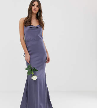 Missguided Tall satin cowl neck maxi dress with train in blue