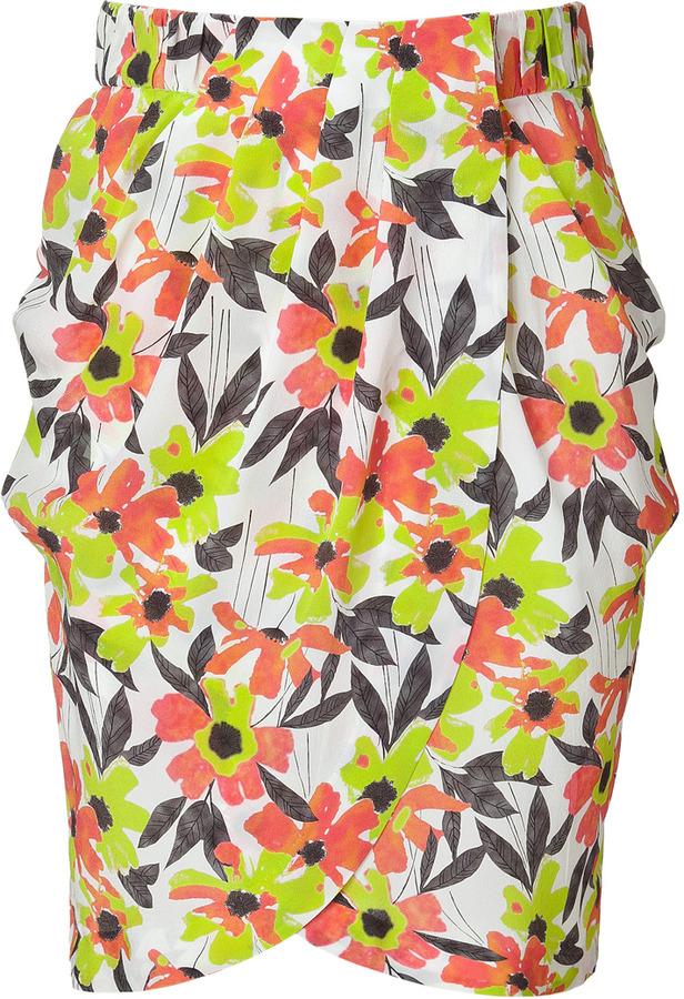 Tara Jarmon Anis Green Floral Print Silk Skirt