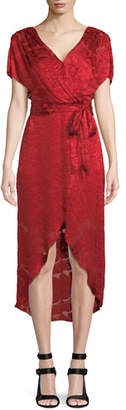 Alice + Olivia Darva Gathered Mock Wrap Midi Dress