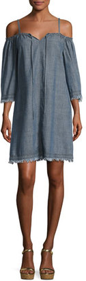 Trina Turk Chill Cold-Shoulder Chambray Mini Dress, Indigo $248 thestylecure.com
