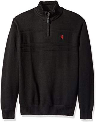 U.S. Polo Assn. Men's Solid Texture Chest Stripe 1/4 Sweater