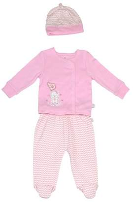 Duck Duck Goose Newborn baby girl long sleeve kimono top, footed pants & cap take-me-home, 3pc outfit set