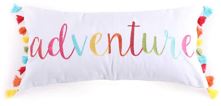 White 'Adventure' Tassels Pillow