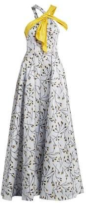 Carolina Herrera Floral Print Halterneck Gown - Womens - Blue Multi