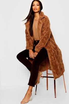 boohoo Collared Longline Faux Fur Coat