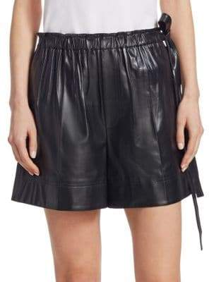 Helmut Lang Paperbag Drawstring Waist Leather Shorts
