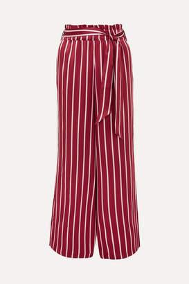 ASCENO - Striped Silk-satin Pajama Pants - Claret