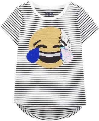 Osh Kosh Oshkosh Bgosh Girls 4-12 Flip-Sequin Smiley Striped Tee