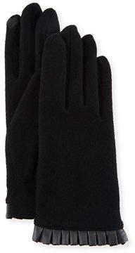 Portolano Cashmere-Blend Leather-Cuffed Tech Gloves