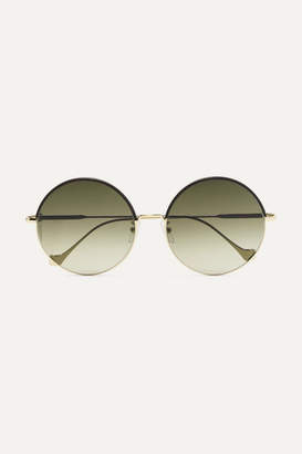 Loewe Round-frame Leather-trimmed Gold-tone Sunglasses - Brown