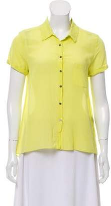 Elizabeth and James Silk-Blend Button-Up Top