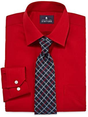 STAFFORD Stafford Travel Easy-Care Dress Shirt & Tie Set - Big And Tall