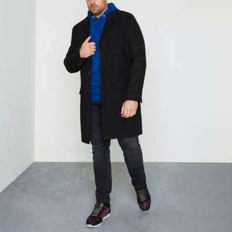 River Island Big and Tall black smart overcoat