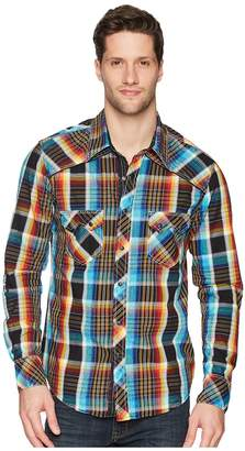 Rock and Roll Cowboy Plaid Long Sleeve Snap B2S5730 Men's Short Sleeve Button Up