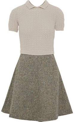 RED Valentino Paneled Open-Knit And Wool-Tweed Mini Dress