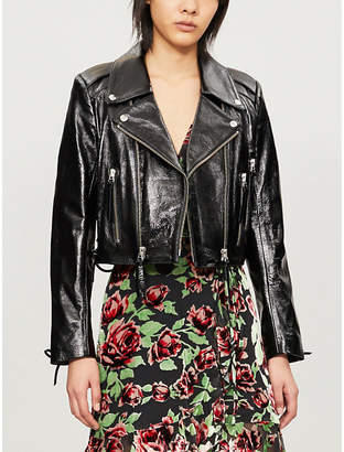 The Kooples Laced-detail leather biker jacket