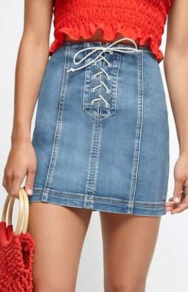 PacSun Lace-Up Paneled Skirt