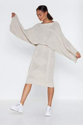 Nasty Gal In the Thick of Knit Sweater and Skirt Set