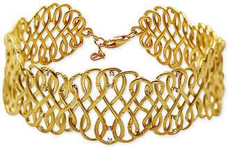 Kesi Jewels Diamond & White Topaz Accent Infinity Weave Link Bracelet in 18k Gold-Plated Sterling Silver
