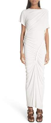 ATLEIN Asymmetrical Ruched Rib Knit Maxi Dress
